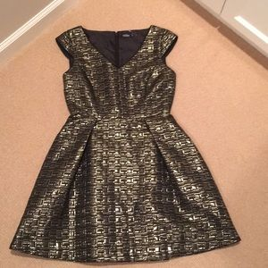 NEW KATE SPADE Gold/Black A-Line Dress Sz4 NWOT